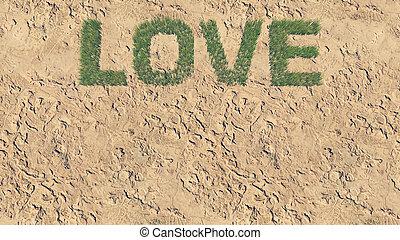 fait, amour, texte, 5, frais, herbe