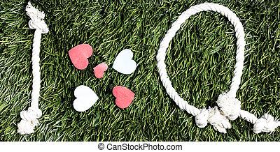 fait, amour, transcription, cordes, q, arrière-plan., herbe