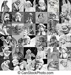 fait, angélique, bonimenter, beaucoup, -, souvenir, statues, cimetière