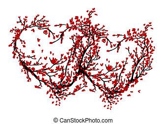 fait, arbre, deux, conception, sakura, cœurs, ton