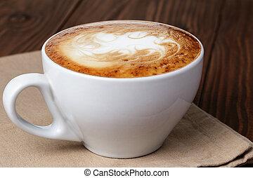 fait, art, tasse, résumé, latte, cappuccino, fraîchement