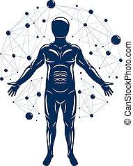 fait, athlétique, engineering., objet, illustration, recherche, biochimie, génétique, vecteur, connections., humain, utilisation, moléculaire, futuriste, homme
