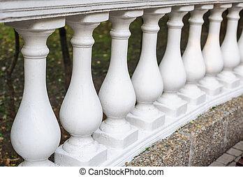 fait, balustres, élément, ciment, architectural, blanc