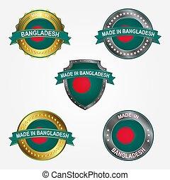 fait, bangladesh., illustration, étiquette, vecteur, conception