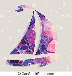 fait, bateau, triangles., fond