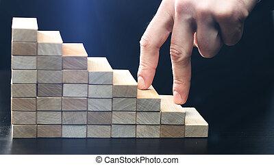 fait, blocs, main bois, escalier grimpeur