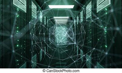 fait boucle, animation., moderne, connexions, clair, technologie, 3840x2160., réseau, concept., numérique, 3d, cyberespace, room., etagères, hd, datacenter, tunnel, serveur, 4k, croissant, eclats, ultra, futuriste