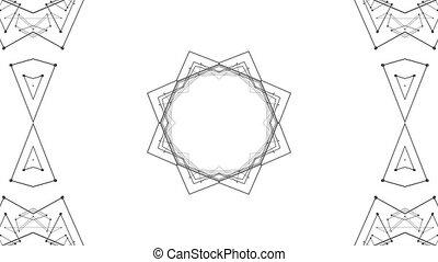 fait boucle, arrière-plan., 4k., résumé, wireframe, seamless, géométrie, v1, animation, noir, grille, 3d, circulaire