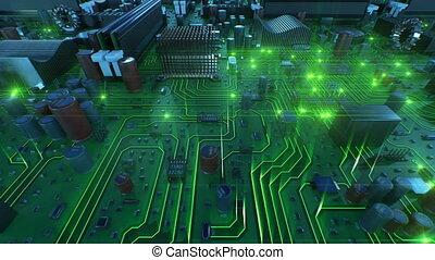 fait boucle, carte mère, lights., sur, voler, flares., animation, vert, planche, circuit, technologie numérique, concept., 3d