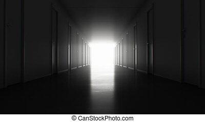 fait boucle, clair, par, technologie, end., concept., seamless, animation, couloir, 3840x2160, blanc, exit., fermé, portes, business, sombre, hd, ultra, beaucoup, mouvement, 4k, lumière, 3d