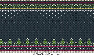 fait boucle, coloré, ornement, scandinave, tricoté, horizontal, animé