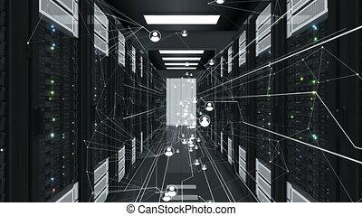 fait boucle, résumé, connexions, humain, technologie, 3840x2160., étagères., datacenter., réseau, icônes, média, concept., animation, écoulement, 3d, numérique, hd, serveur, 4k, social, ultra, futuriste
