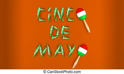 fait boucle, texte, mayonnaise, de, deux, cinco, animation, en mouvement, fond, maracas, orange, 3d