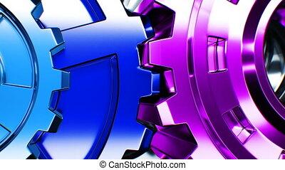 fait boucle, tourner, business, fonctionnement, animation., process., futuriste, mécanisme, résumé, collaboration, engrenages, 3d, close-up., hd, ultra, technologie, concept., 3840x2160., 4k