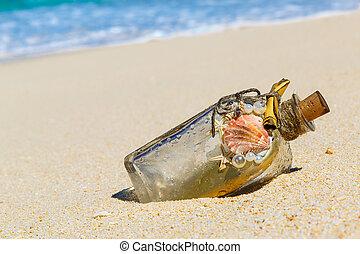 fait, bouteille, tro, sable, message, mer