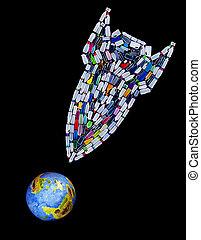 fait, bouteilles, fusée, menacer, plastique, planète, notre, bombe