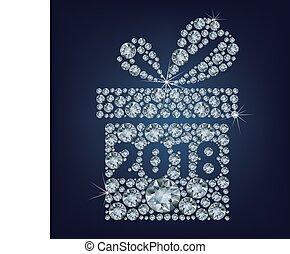 fait, cadeau, haut, 2018, lot, diamants, présent