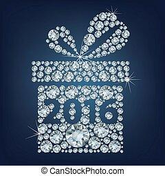 fait, cadeau, haut, lot, diamants, 2016, présent