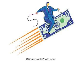 fait, clipart, dollar, voler, -, monnaie, équitation, homme affaires, moquette