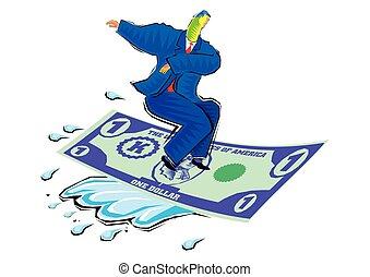fait, clipart, dollar, voler, -, vague, monnaie, équitation, homme affaires, finical, moquette