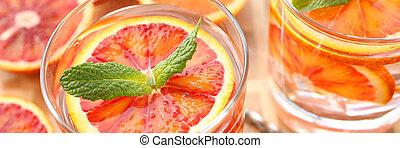 fait, cocktail, poinçon, closeup, orange, maison, rouges
