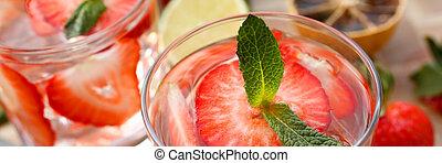 fait, cocktail, poinçon, fraise, closeup, maison