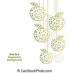 fait, coloré, dots., lignes, connecté, pommes
