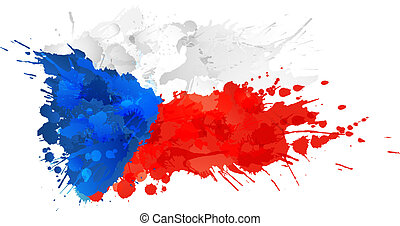 fait, coloré, drapeau tchèque, république, eclabousse