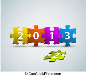 fait, coloré, morceaux puzzle, carte, année, nouveau, 2013