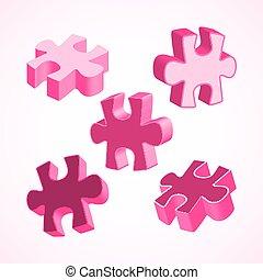 fait, coloré, puzzle, illustration, morceaux, quatre, vecteur