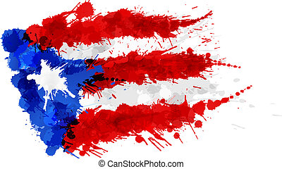fait, coloré, rico, drapeau, eclabousse, puerto