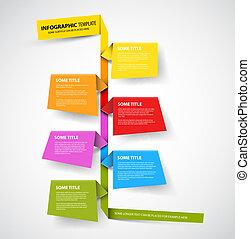 fait, coloré, timeline, infographic, gabarit, papiers, rapport