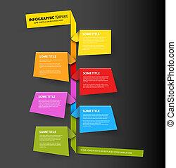 fait, coloré, timeline, sombre, infographic, gabarit, papiers, rapport