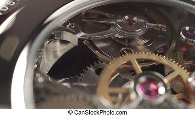 fait, coup, macro, montre, mécanisme, poignet, chariot, ...
