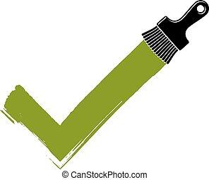 fait, créé, chèque, concept., acceptation, signe, symbole, hand-drawn, vecteur, vert, choix, paintbrush., marque, coups pinceau, isolé, validation