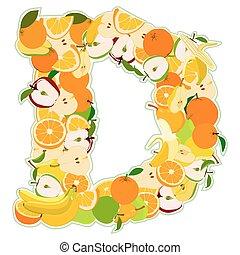 fait, d, -, illustration, vecteur, lettre, fruits.