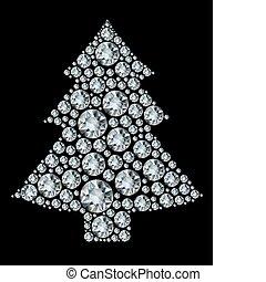 fait, diamonds., arbre noël