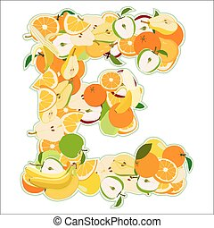 fait, e, -, illustration, vecteur, lettre, fruits.