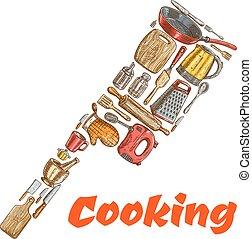fait, emblème, hachette, batteries cuisine, hache, cuisine