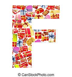 fait, f, alphabet, -, lettre, giftboxes