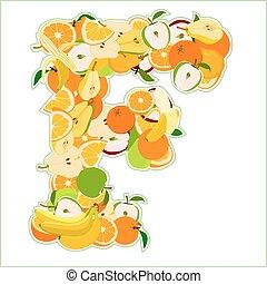 fait, f, -, illustration, vecteur, lettre, fruits.