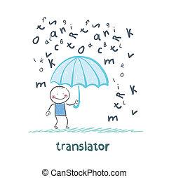 fait face, translator, parapluie, pluie, lettres