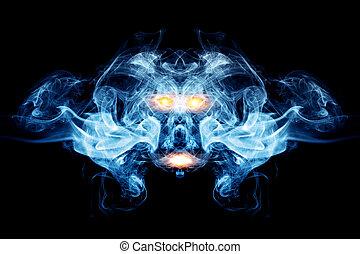 fait, fantôme, flames., face abstraite, fumée, fond, diable, logo, élément