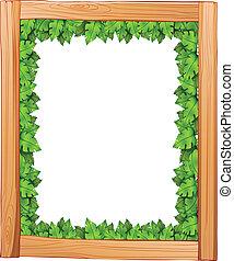 fait, feuilles, bois, conception, vert, frontière