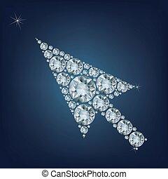 fait, flèche, haut, curseur, forme, lot, diamants
