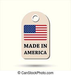 fait, flag., pendre, illustration, arrière-plan., amérique, vecteur, blanc, étiquette