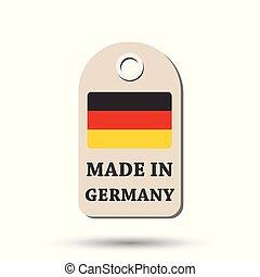 fait, flag., pendre, illustration, arrière-plan., vecteur, allemagne, blanc, étiquette