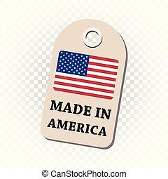 fait, flag., pendre, isolé, illustration, arrière-plan., amérique, vecteur, étiquette