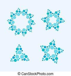 fait, flocons neige, coloré, dots., résumé, étoiles, vecteur, cercle, fleurs