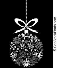 fait, flocons neige, ornement, noir, pendre, noël blanc